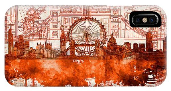 London Eye iPhone Case - London Skyline Old Vintage 2 by Bekim Art