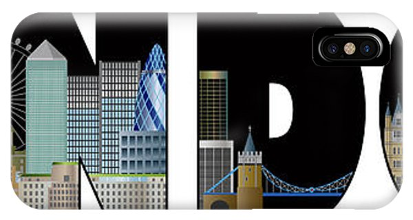 London Skyline Text Outline Color Illustration IPhone Case