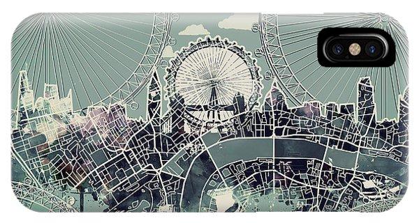 London Eye iPhone Case - London Skyline Vintage by Bekim Art