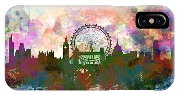 London Eye iPhone Case - London Skyline Watercolor by Bekim Art