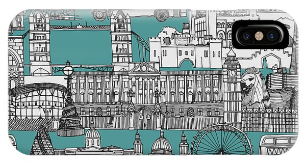 Cities iPhone Case - London Toile Blue by Sharon Turner