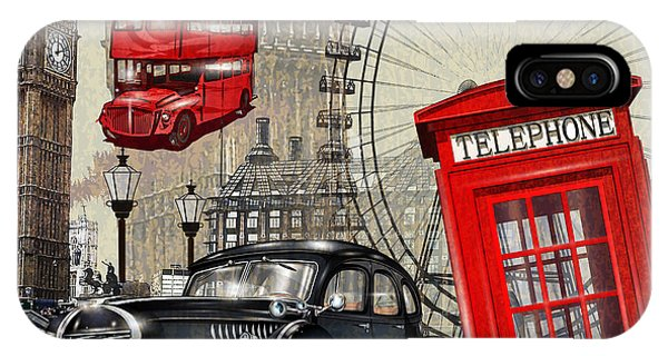 Ben iPhone Case - London Vintage Poster by Axpop