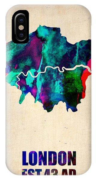 London Watercolor Map 2 IPhone Case