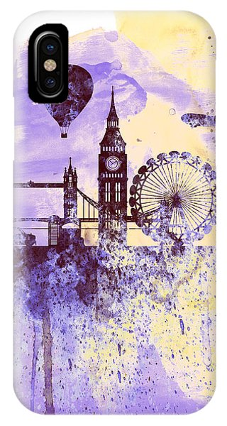 Ben iPhone Case - London Watercolor Skyline by Naxart Studio