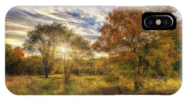 The Nature Center iPhone Case - Lone Bench Under Tree - Fall Sunset - Retzer Nature Center - Waukesha Wisconsin by Jennifer Rondinelli Reilly - Fine Art Photography