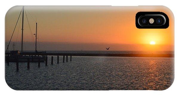Lone Bird At The Marina IPhone Case