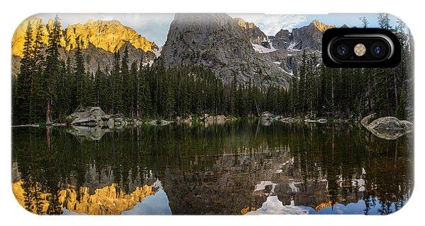 Indian Peaks Wilderness iPhone Case - Lone Eagle Peak And Mirror Lake by Aaron Spong
