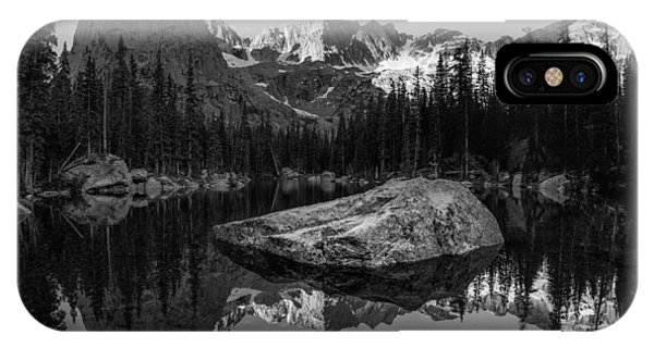 Indian Peaks Wilderness iPhone Case - Lone Eagle Peak Black And White by Aaron Spong