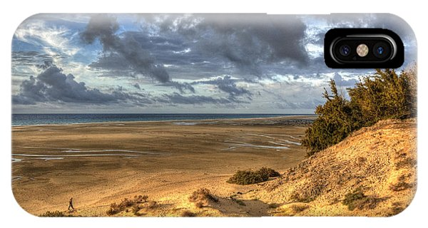Lone Stroller On A Vast Beach Under Dramatic Sky IPhone Case