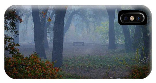 Lonely Park Bench In The Fog IPhone Case