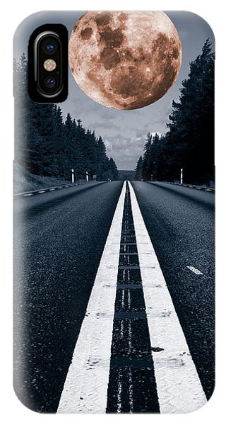 Lonely Road And Full Moon IPhone Case