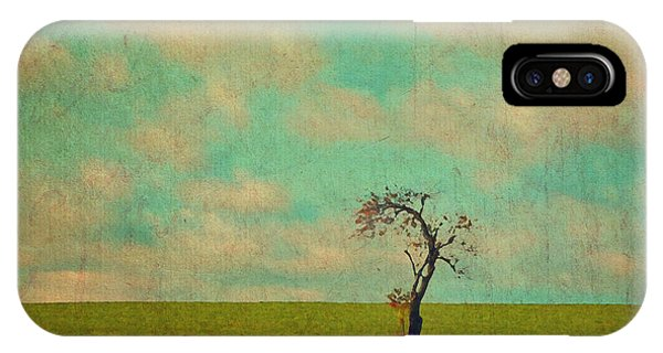 Lonesome Tree In Lime And Orange Field And Aqua Sky IPhone Case