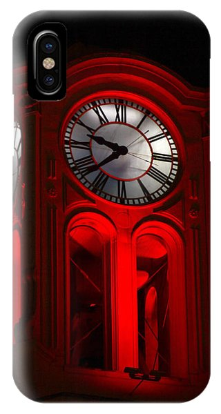 Long Beach Pine Ave. Clock Tower In Red IPhone Case