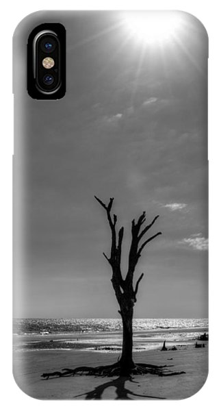 Long Shadow On Jekyll Island In Black And White IPhone Case