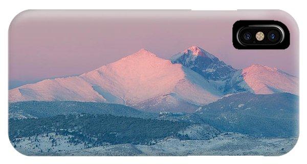 Longs Peak Alpenglow In Winter IPhone Case