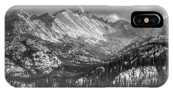 Longs Peak Rocky Mountain National Park Black And White IPhone Case