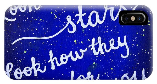 Coldplay iPhone Case - Look At The Stars Quote Painting by Michelle Eshleman