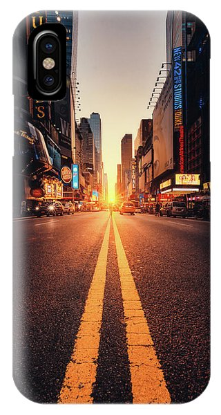 Times Square iPhone Case - Looking For The Sunset In Nyc! by Javier Del Cerro