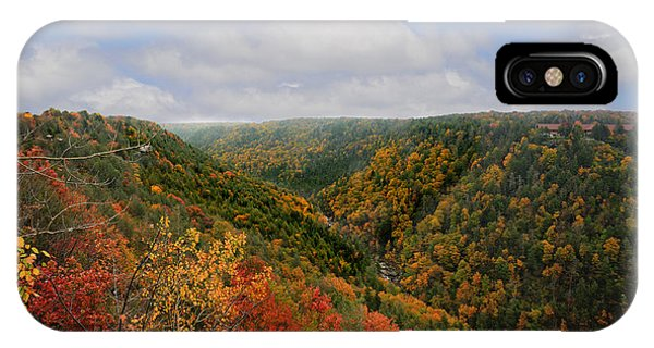 Looking Upriver At Blackwater River Gorge In Fall From Pendleton Point IPhone Case