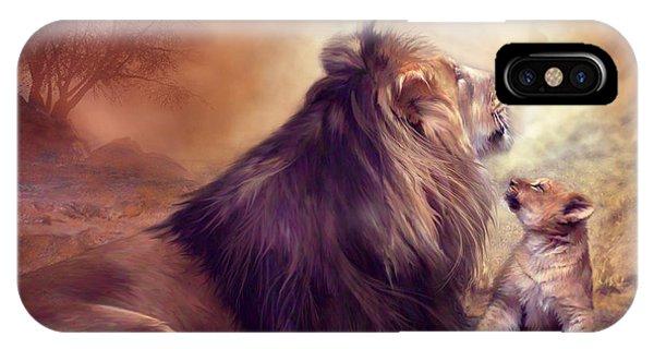 African Lion Art iPhone Case - Looking Upward by Carol Cavalaris