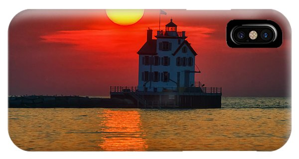 Lorain Ohio Lighthouse At Sunset IPhone Case