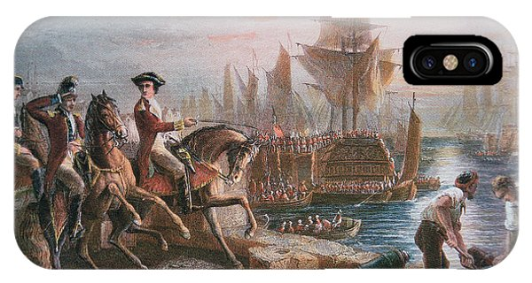 Cavalry iPhone Case - Lord Howe Organizes The British Evacuation Of Boston In March 1776 by English School