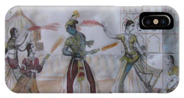 Lord Krishna Playing Holi IPhone Case