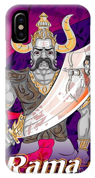 Worship iPhone Case - Lord Rama With Demon Ravana In Happy by Vecton