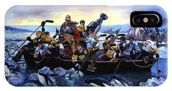 Lord Stanley And The Penguins Crossing The Allegheny IPhone Case