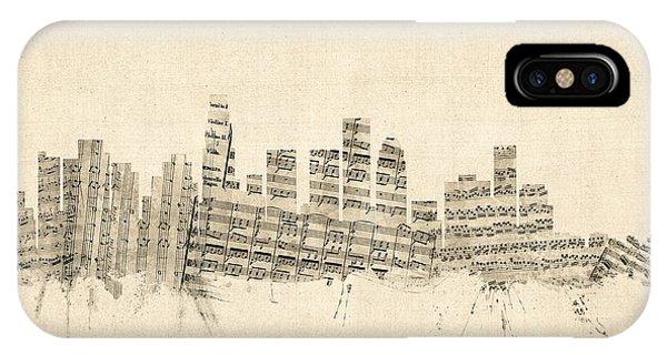 Los Angeles California Skyline Sheet Music Cityscape IPhone Case