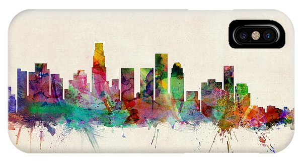 City Scenes iPhone Case - Los Angeles City Skyline by Michael Tompsett