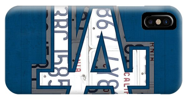 Los Angeles Dodgers Baseball Vintage Logo License Plate Art IPhone Case