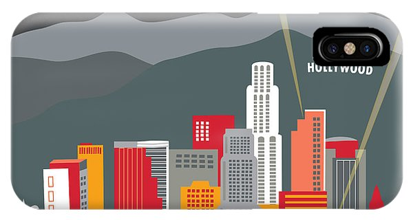 Movie iPhone Case - Los Angeles California Horizontal Skyline - Hollywood Hills - Night by Karen Young