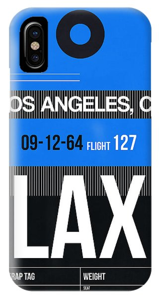 Los Angeles iPhone X Case - Los Angeles Luggage Poster 3 by Naxart Studio