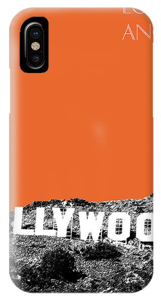 Sketch Pen iPhone Case - Los Angeles Skyline Hollywood - Coral by DB Artist