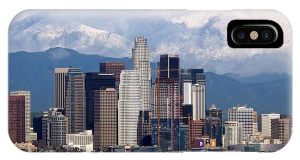 Los Angeles Skyline With Snowy Mountains IPhone Case