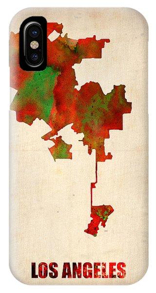 Los Angeles Watercolor Map Phone Case by Naxart Studio