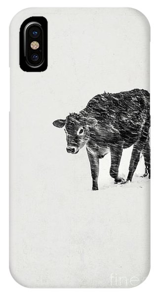 Struggle iPhone Case - Lost Calf Struggling In A Snow Storm by Edward Fielding