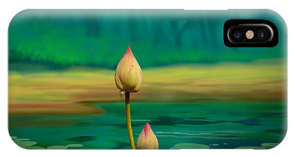 Shrub iPhone Case - Lotus Buds by Peter Awax