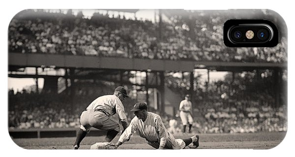 Baseball Hall Of Fame iPhone Case - Lou Gehrig Playing First Base by Mountain Dreams
