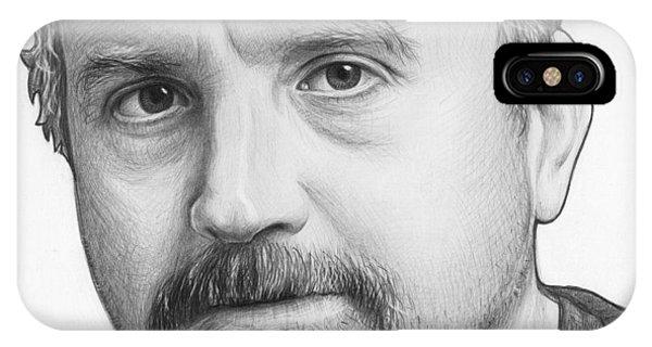 Pencil iPhone Case - Louis Ck Portrait by Olga Shvartsur