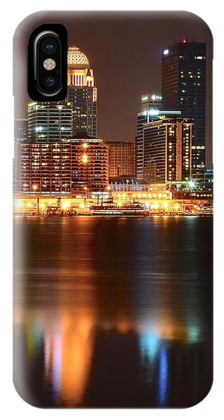Chicago Skyline Art iPhone Case - Louisville At Night  by Frozen in Time Fine Art Photography