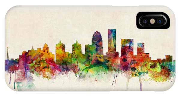 Watercolour iPhone Case - Louisville Kentucky City Skyline by Michael Tompsett