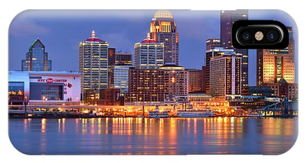 Downtown iPhone Case - Louisville Skyline At Dusk Sunset Panorama Kentucky by Jon Holiday