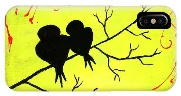 IPhone Case featuring the painting Love Birds Art by Bob Baker