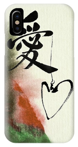 Love Brush Calligraphy With Heart IPhone Case