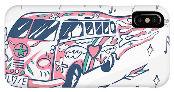 Peace iPhone Case - Love Bus Vector Poster. Hippie Car by Inamel