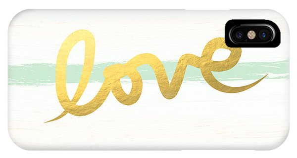 Wedding Gift iPhone Case - Love In Mint And Gold by Linda Woods