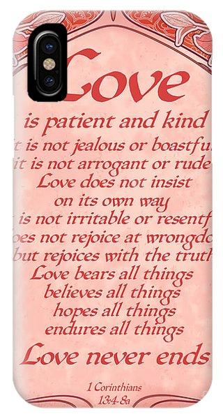 Love Is Patient - Red Art Nouveau Style IPhone Case