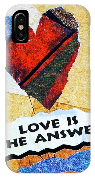 IPhone Case featuring the painting Love Is The Answer Collage by Bob Baker